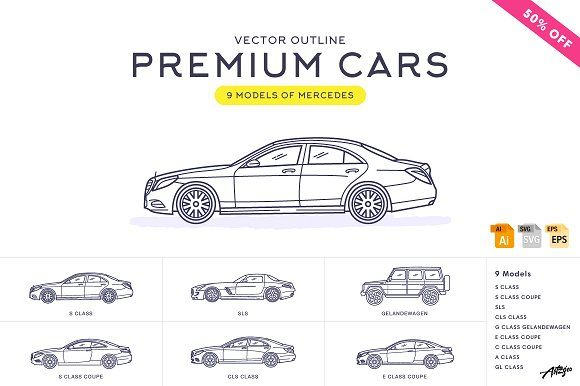 Premium Cars ¨C Mercedes (Vector) Graphics **The ?Premium Cars? included:**9 models of Mercedes (**editable vector formats: SVG   EPS   AI   by Artzgeo