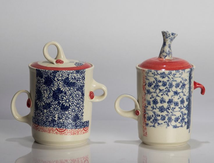 Hand decorated lidded vessels