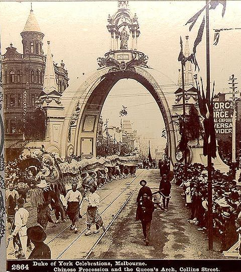 Federation 1901:  Roses Stereoscopic Views  Duke of York Celebrations, Melbourne 1901 Chinese Procession and the Queenss Arch, Collins Street, Melbourne Vic Australia