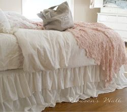 ruffled linen bedskirt.... no tutorial... but I love the double ruffled bedskirt.
