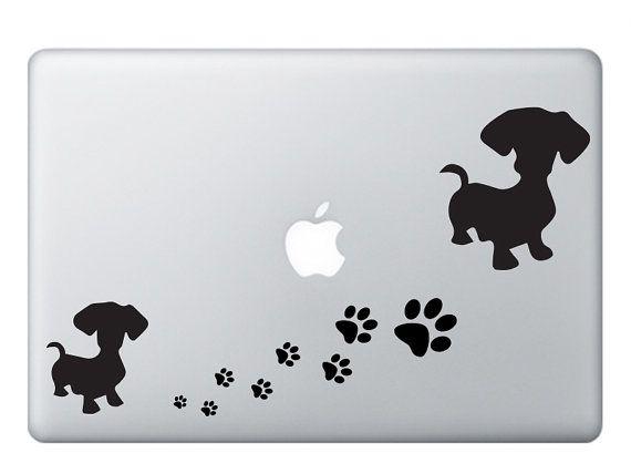 Dachshund and Paws Vinyl Sticker  Laptop Stickers  by StiKerBox