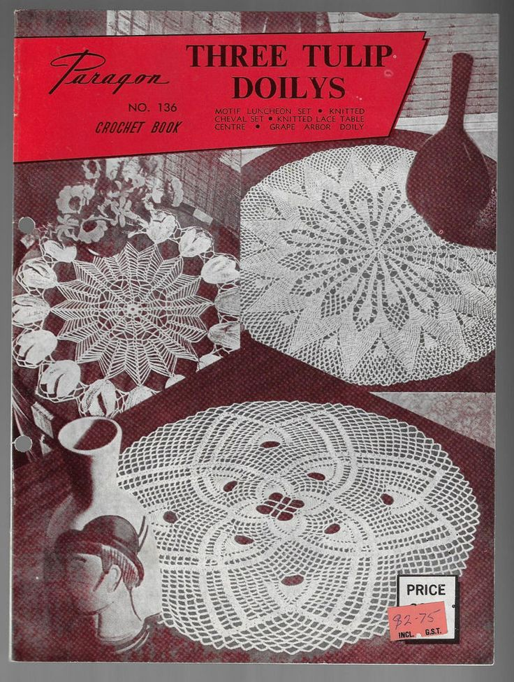 Paragon Three Tulip Doilys Crochet & Knitted Designs # 136 vintage pattern #Paragon