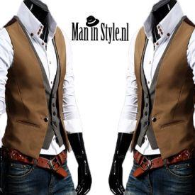 Zakelijke Stijlvolle Bruin Grijze Combo Gilet - Man in Style - Exclusieve mode voor mannen met Style!