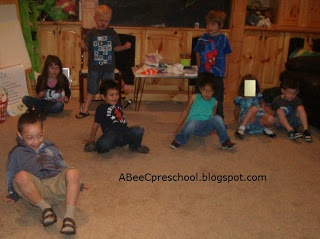"Beach or Ocean Theme:  We had ""crab-walk"" relay races.  A, Bee, C, Preschool"