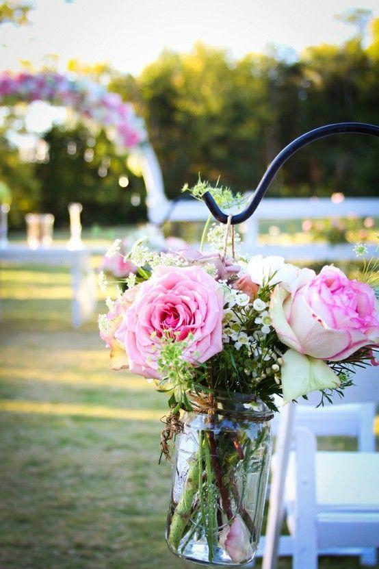 country wedding real flowers mason jars