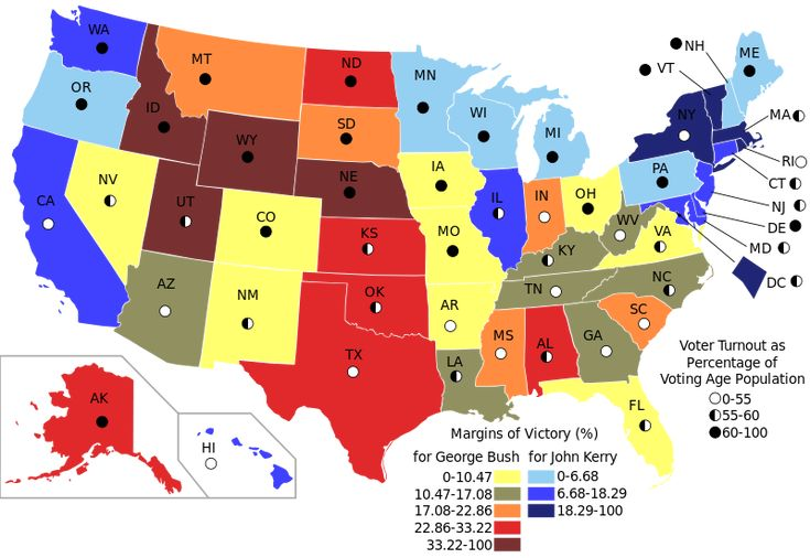 The US Presidential Election of 2004, visualised using a choropleth map
