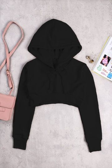 Active Round Neck Cut Out Drawstring Waist Sports Hoodies in Black