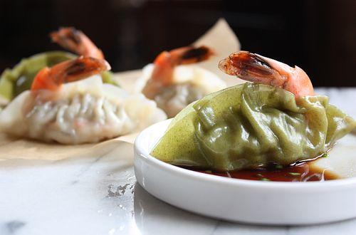 Korean shrimp dumplings (mandu) recipe. Fun to make, adorable looking, perfect with drinks.