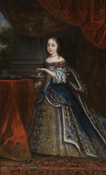 6- Portrait of Princess Henrietta of England, artist unknown, 1661- § HENRIETTE ANNE D'ANGLETERRE: La monarchie française est en train d'affronter le soulèvement de la Fronde, les caisses sont vides et la régente Anne d'Autriche, a d'autres soucis que celui de s'occuper du bien-être de sa belle-soeur et de sa nièce. La petite Henriette passe donc avec sa mère des hivers pénibles dans l'appartement qui leu a été dévolu au Louvre.