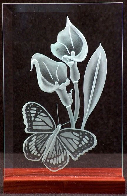 Carved Glass Calla Lily and Butterfly in Handcrafted Wooden Base