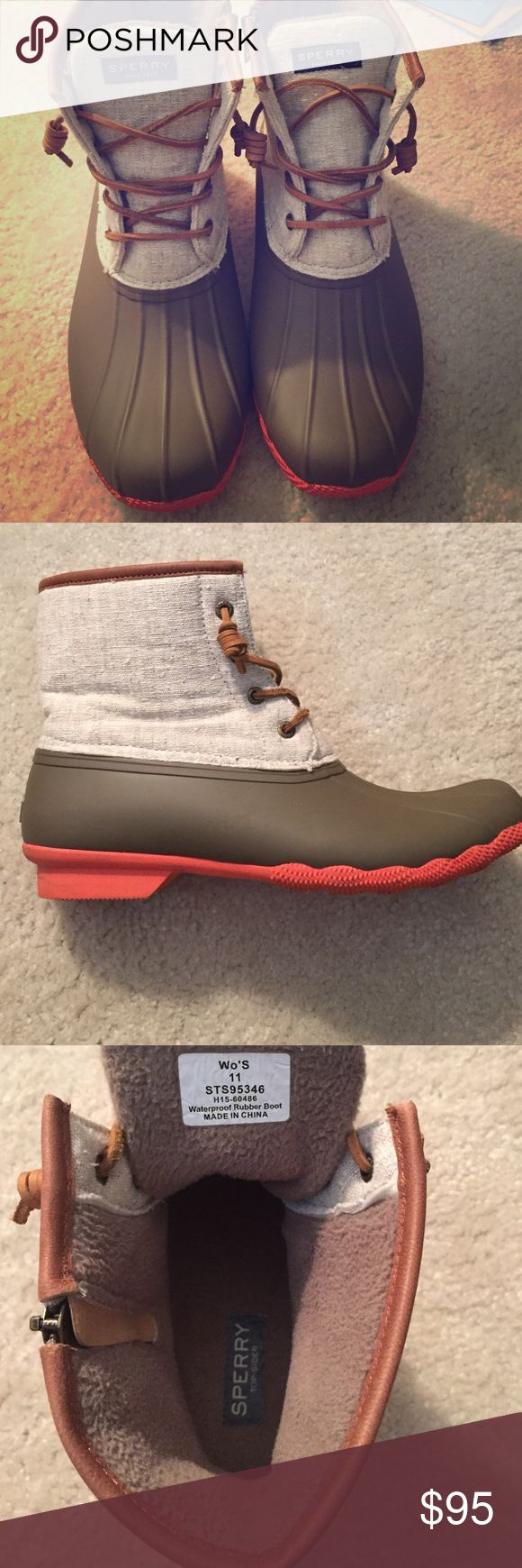 Sperry duck boots Excellent condition sperry duck boots, only worn a handful of times. The only signs of wear are on the bottoms of the shoes. The color is taupe and the bottom is a coral color. Sperry Shoes Winter & Rain Boots