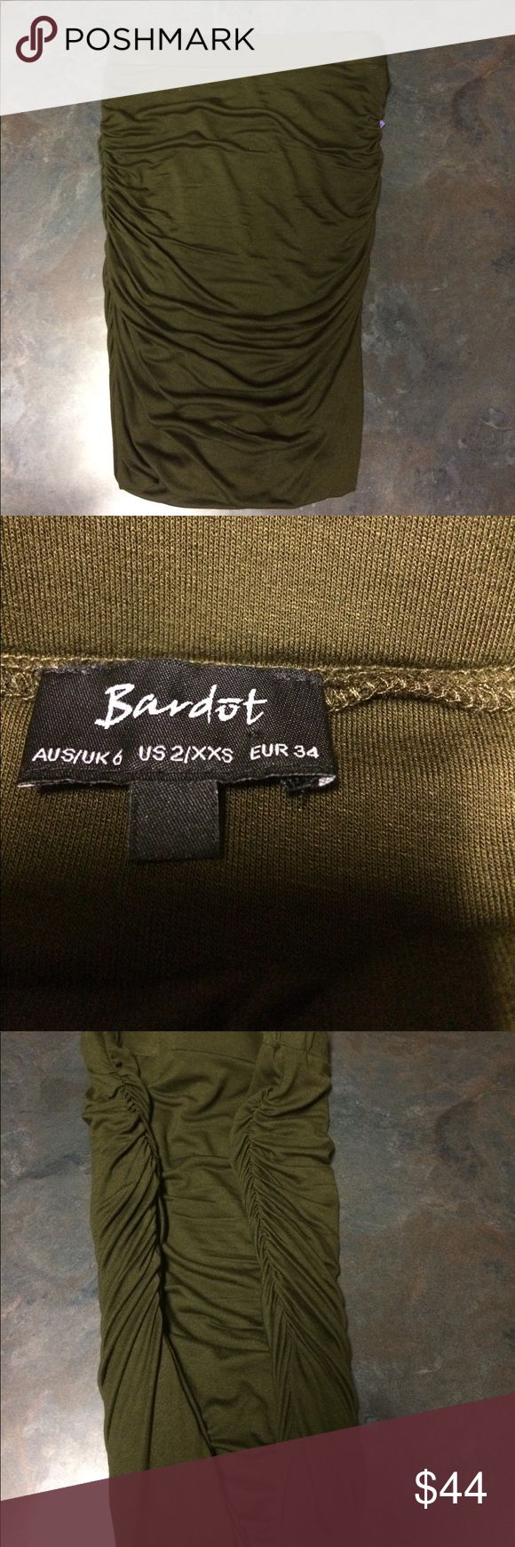 NWT Olive Green Ruched Mini Skirt Super soft and comfortable. Olive green colored mini skirt with side ruching. Elastic waistband. Actually could be worn as a tube top if desired. Bardot Skirts Mini