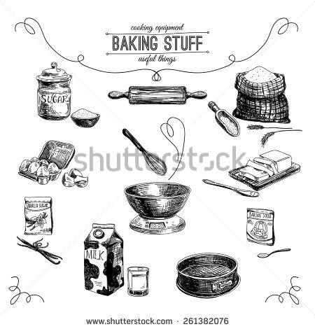 Vector hand drawn set. Vintage Illustration with milk, sugar, flour, vanilla…