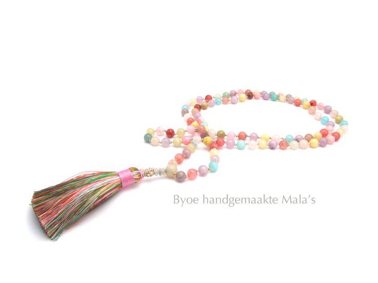 "Handmade Mala ketting ""Pastel"" byoe.nl#yoga sieraden#Meditatie ketting#gewoon mooi om te dragen"