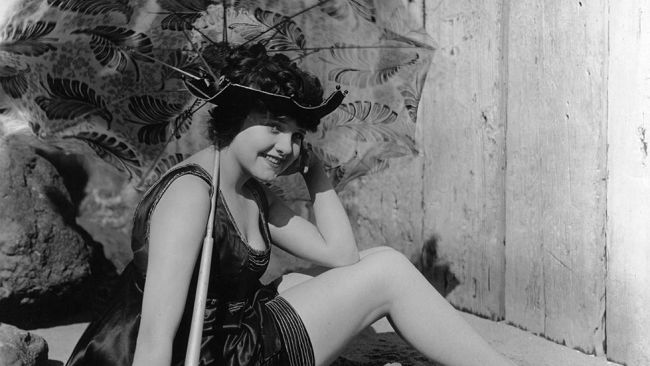 Circa 1918: One of the fabulous bathing belles from the Mack Sennett 'stable,' Mildred June, poses for photographers. (Hulton Archive/Getty Images)