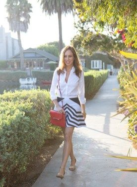 Stripe Skirt Outfits Ideas For Working Women 56