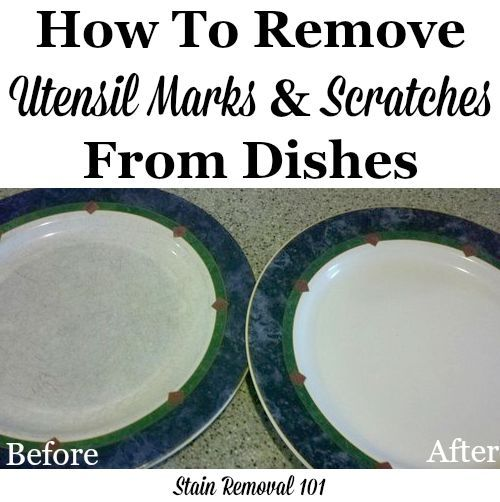 How to use Bar Keeper's Friend to remove utensil marks and scratches on dishes and stoneware {on Stain Removal 101}