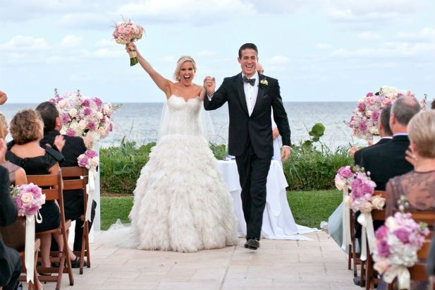 Luxury Florida outdoor wedding ceremony overlooking the ocean at Four Seasons Palm Beach | Jeff Kolodny Photography