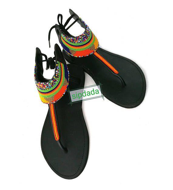 Handmade sandals Leather Sandals Kenyan sandals women/'s Maasai beaded sandals for women African beaded sandals for women Women sandals