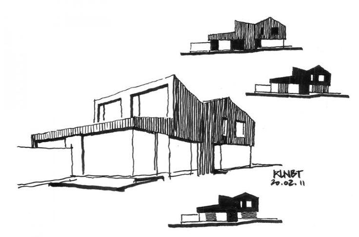 STEINMETZDEMEYER - Projects KLNBT 1017 TWIN WOODEN HOUSES SKETCH