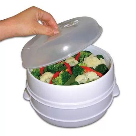 Trademark 2-Tier Microwave Steamer Food Cooker, As Seen On TV