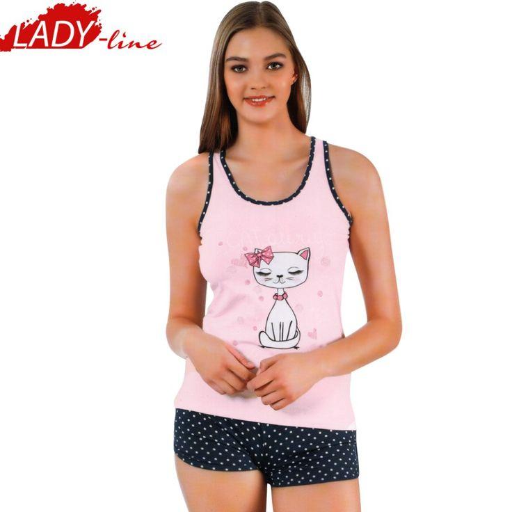 Poze Pijamale Dama cu Maieu si Pantalon Scurt, Model 'Cat Always Belive In You', Producator Ozkan Underwear, Culoare Roz, Pijamale Dama Vara