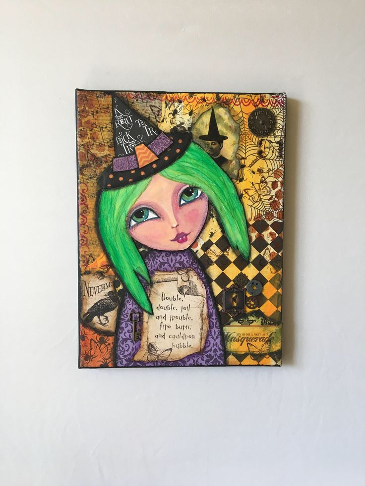 Steam punk witch, toil and trouble, good witch, cute witch, mixed media halloween, halloween decorations, steam punk halloween, witch art by Merrydipity on Etsy https://www.etsy.com/listing/558331887/steam-punk-witch-toil-and-trouble-good