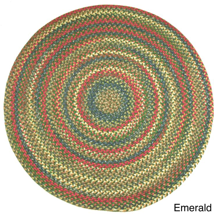 Charisma Indoor Outdoor 8 Foot Round Braided Rug By Rhody Peridot Blue Size Nylon Border