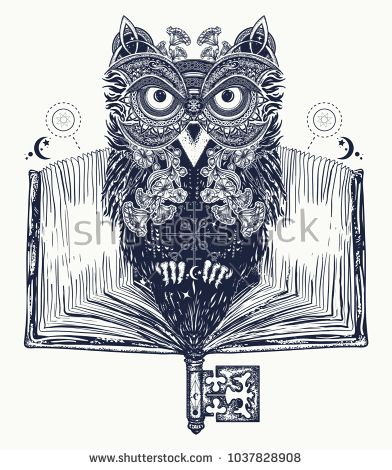 Owl and open book tattoo and t-shirt design. Symbol of education, literature, poetry, wisdom, reading. Open book, vintage key and magic owl art tattoo
