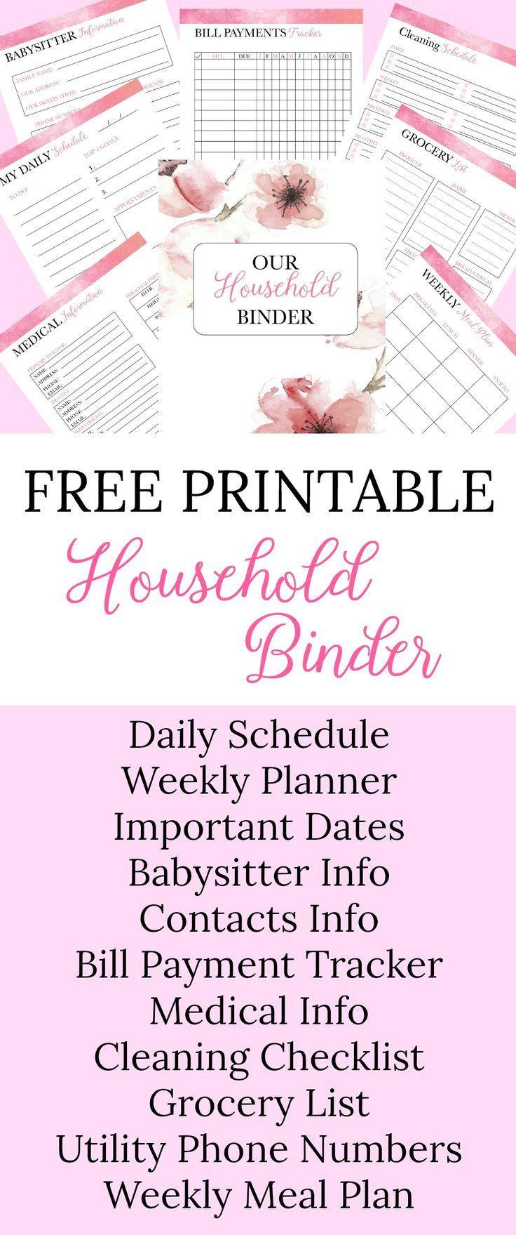 Free Printable Household Binder.