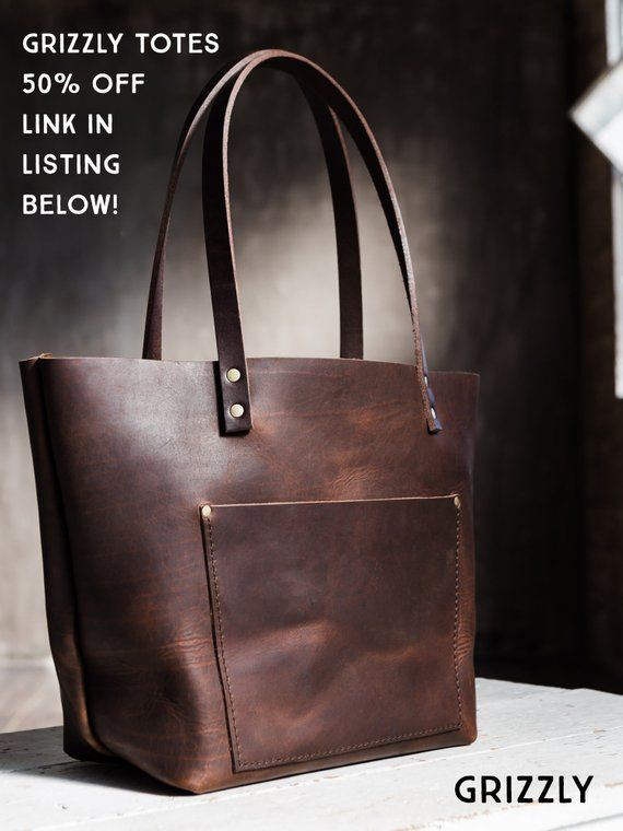 Leather Tote Bag HUGE SALE, Tote with Zipper Upgrade, Customize with ... 4c09f93938
