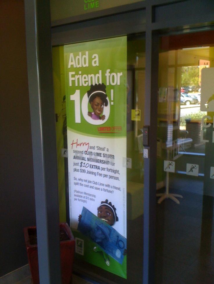 Club Lime Add a Friend for 10 Window - signage design & development