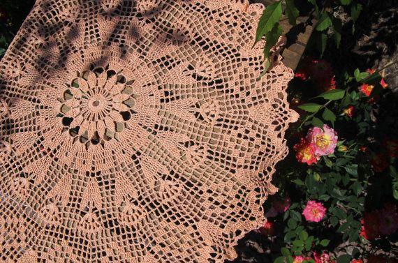 Salmon crochet doily in flowers