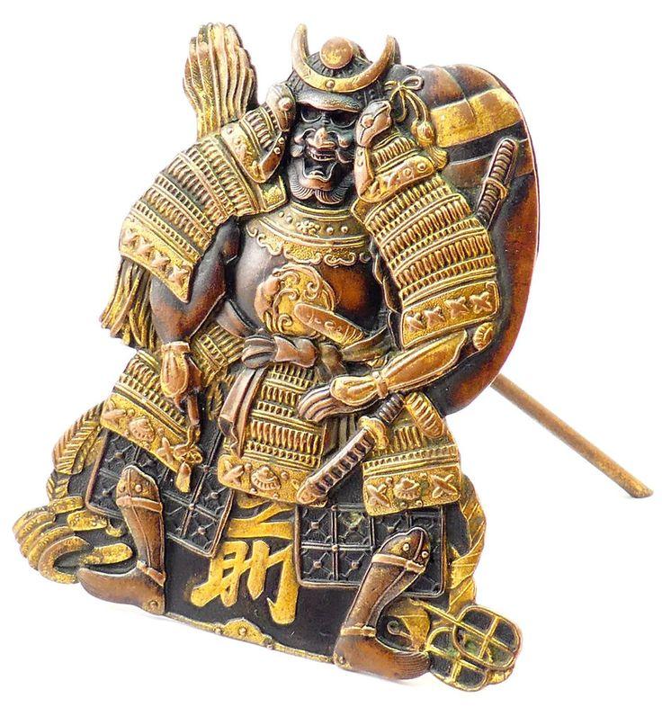 ANTIQUE 19thC JAPANESE MEIJI (1868-1912) SHAKUDO MIXED METAL SAMURAI MENU STAND