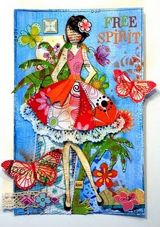 Pretty Girl Collage Tutorial by Linda Abadie - love how it goes off the canvas