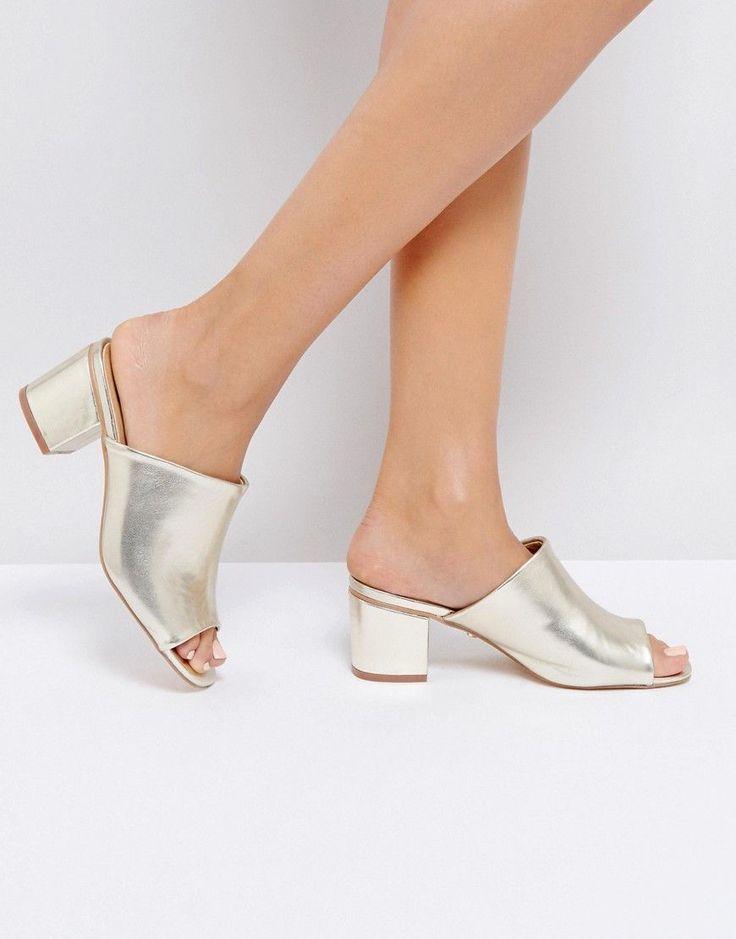Oasis Heeled Mule - Gold #mulesshoes
