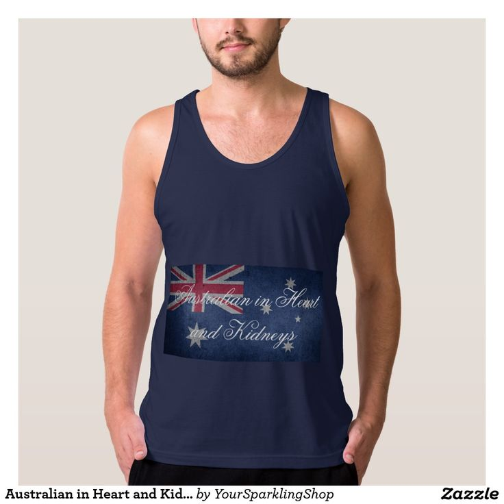 Australian in Heart & Kidneys, #Australia Men's American Apparel Fine Jersey Tank Top