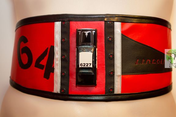 Waist-Cincher Style Belts for bold women who love to stand out in a crowd! Designed and Made in Toronto PERSONAL SERVICE/CUSTOM ORDERS ONLY  COLLECTION: REBEL RACERS 64 linclon pontiac police cruiser One of a Kind $80