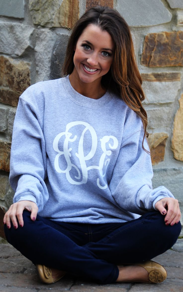 Cozy AND cute! Marleylilly.com has the perfect Full Monogrammed Crewneck Sweatshirt