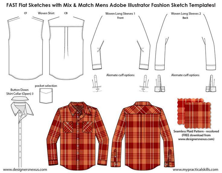 Mens Illustrator Flat Fashion Sketch Templates -Sample Sketch - 1045+ mix &…