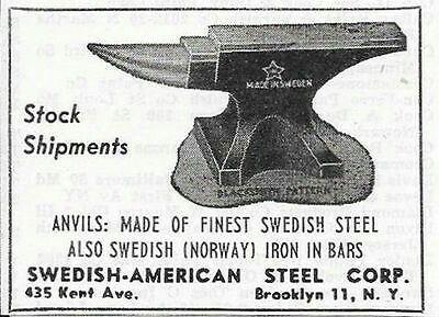 1952 SWEDISH AMERICAN BLACKSMITH ANVIL AD BROOKLYN NY NEW YORK