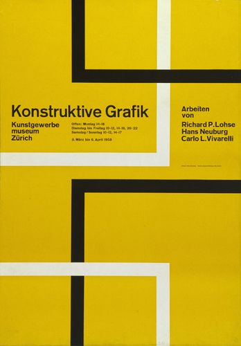Konstruktive Grafik (1958) — Hans Neuburg  This exhibits the 'international Swiss style'  Similar to the work of Hoffman, and designed in the 50s period (in which this new style flourished). The design is quite modern for its time and very simple and stripped back of embellishment (functionality).