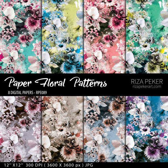 Seamless Floral Patterns  Digital Paper 8 Digital by rizapekerart #seamless #floral #prints #patterns #flowers #wallpaper #butterflies #fashion #moda