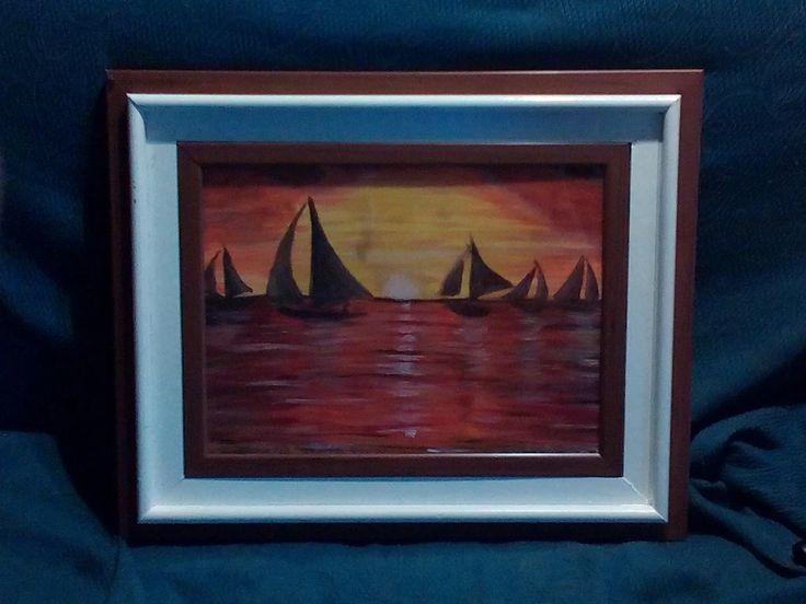 """Foto: """"Barche sul mare al tramonto"""" tela 30x40 cm al costo di 40€ trattabili. con cornice come in foto al prezzo di 60€ trattabili"""