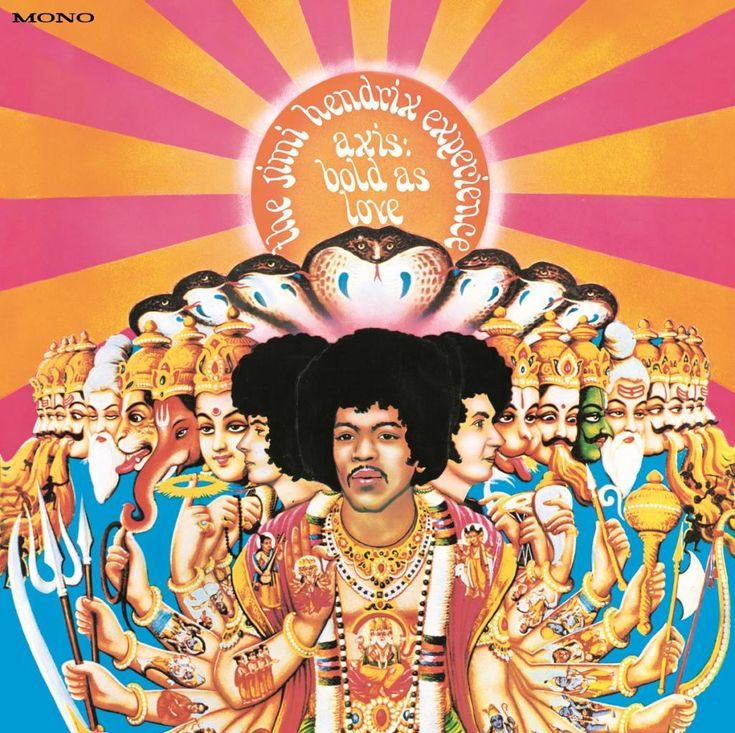 Jimi Hendricks album cover...Axis: Bold as Love, the second Experience album, was released merely six months after their debut LP Are You Experienced, at the end of 1967. Many of the album's songs were composed with complex studio recording techniques in mind and as a result were rarely performed live.