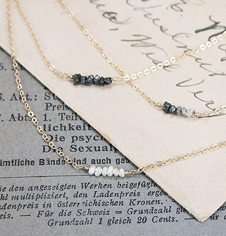 "Ombre White/Black Diamonds necklace. ""Diamondz & Pearlz Necklace"""
