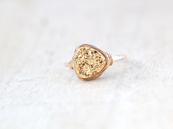 Druzy Triangle Ring in Gilded Gold, by Saressa Designs