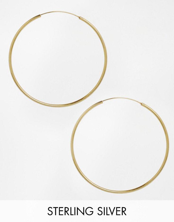 Orecchini a cerchio da 60 mm in argento sterling placcato oro