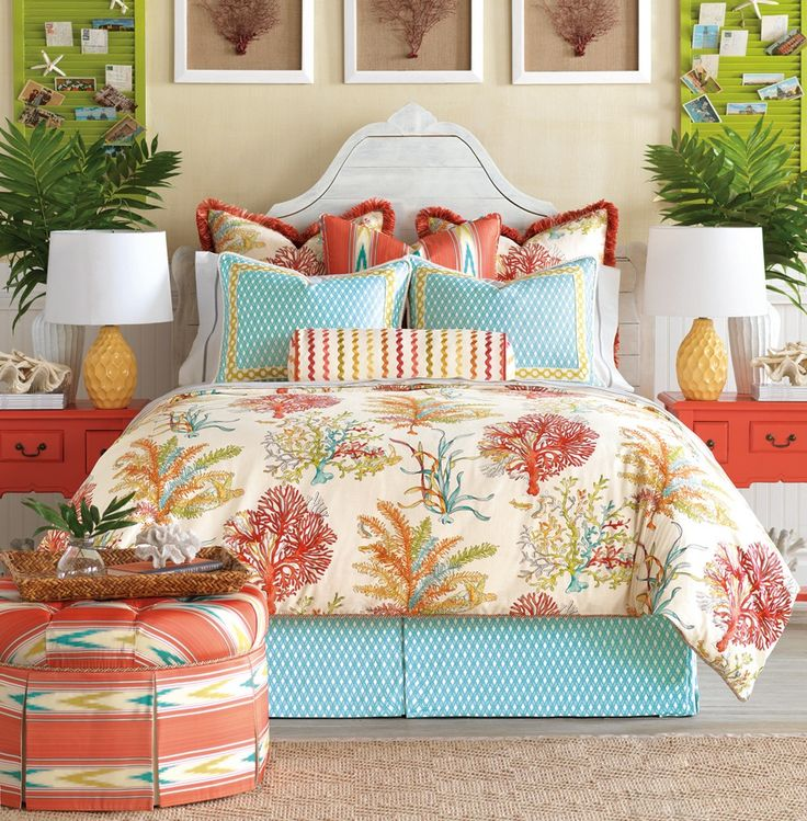 bedroom unusual coral and turquoise bedding with comforter sets and cute pillows for comfortable bedroom