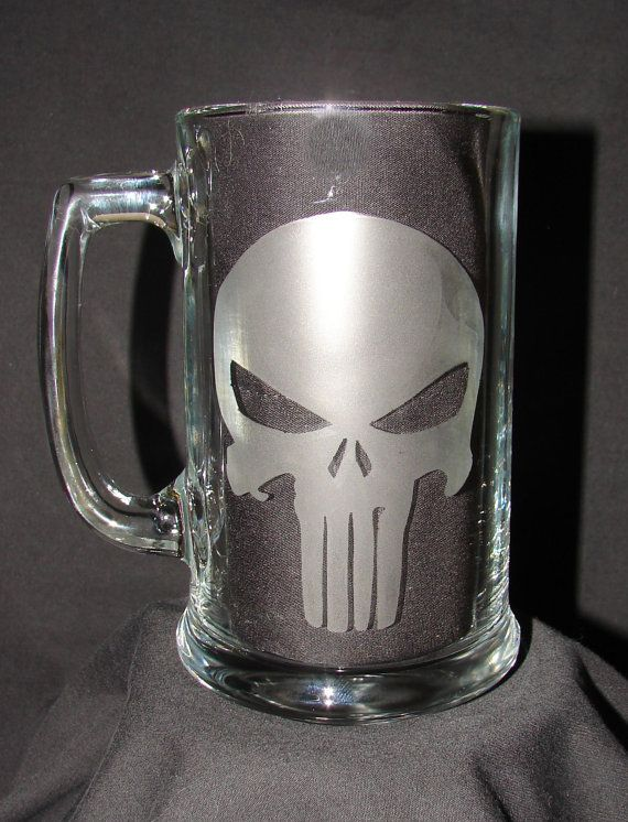 Punisher Marvel Comics Anti Hero Logo Hand Etched on Beer Mug or Pint Glass